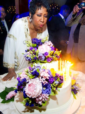 Aretha Franklin celebrates her 69th birthday, in New