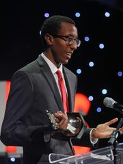 Yared Nuguse, Boys Cross Country Runner of the Year Award and Boys Track and Field Athlete of the Year Award during the 2017 Courier-Journal Sports Awards Ceremony, presented by Norton Sports Health, at the Louisville Palace. June 12, 2017