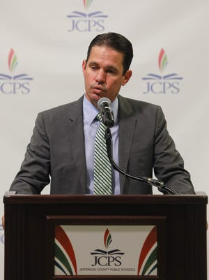 JCPS Superintendent Dr. Marty Pollio speaks during a press conference at the VanHoose Education Center in Louisville, KY. July 3, 2017