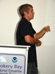 """Adam DiNuovo talks about sites around the world where seabird restorations projects are happening. The Rookery Bay Environmental Learning Center hosted another in its """"Breakfast with the Birds"""" lecture series on July 20."""