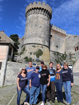 """The group, left to right are Stacey Misenheimer, Jimmy Misenheimer, Butch Wright, Bill Wehmer, DeeDee Wehmer, Rick Wright, Tina Wright, Kim Wright. The group traveled to Rome to celebrate Rick and Tina's 25th wedding anniversary in October 2016. They took the D to """"Odescalchi Castle"""" in the town of Bracciano, Italy. This Castle was ones used by Roman nobles due to its strategic positioning, and in recent years has hosted high profile celebrity weddings such as Tom Cruise and Katie Holmes.The Misenheimer's and Wehmer's are from Little Rock Arkansas, Rick & Tina Wright are from West Bloomfield, Butch and Kim Wright are Rick and Tina's parents from Plymouth, Michigan."""
