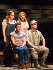 "Katherine Duffy (back left), Cory Goodrich, Henry McGinniss and Karl Hamilton (front right) in ""The Bridges of Madison County"" performed by Peninsula Players."