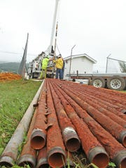 A well-drilling company from Roanoke replaces well casings on one of Monterey's wells on Monday, August 14, 2017.