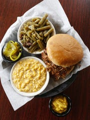 The pulled pork sandwich at Momma's Mustard, Pickles & BBQ.