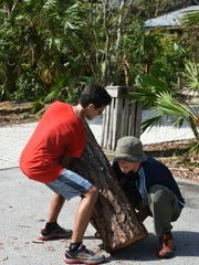 Lifting heavy logs calls for teamwork and coordination.