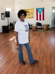 Gladys Cámara in the dance studio at Centro Cultural de Bomba y Plena, her family's school in the Villa Palmeras neighborhood of San Juan that teaches traditional Puerto Rican dance and percussion.