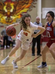 Chaparral's Jess Finney drives to the basket during a game against Arcadia on Feb. 6.