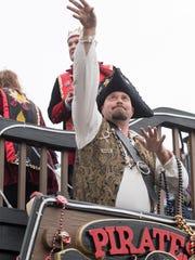 Pensacola Grand Mardi Gras parade in downtown Pensacola on Feb. 10, 2018. This year's parade kicks off at 2 p.m. Saturday.