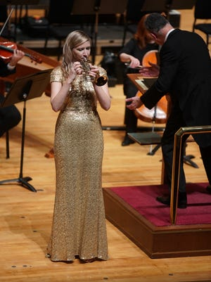 Mary Elizabeth Bowden performs at Saturday's Evansville Philharmonic Orchestra's classics performance.