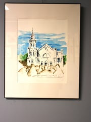 """This study of the the Mother Emmanuel Church in Charleston, evoking Sunshine's background in architecture, is a response to the mass shooting there. Donald Sunshine's exhibit """"Art as Commentary"""" is on display at the Marco Island Center for the Arts through Mar. 27."""