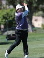Shanshan Feng tees off during the pro-am tournament on the Dinah Shore Course at the ANA Inspiration in Rancho Mirage, Calif., Wednesday, March 28, 2018.