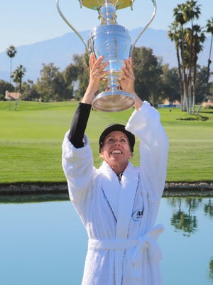 Pernilla Lindberg wins the ANA Inspiration after eight playoff rounds, Rancho Mirage, Calif., Monday, April 2, 2018.