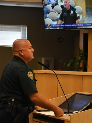 MIPD Officer Clayton Smith is seen here reporting on the city's beach patrol at a Beach and Coastal Resources Advisory Committee meeting in 2017.