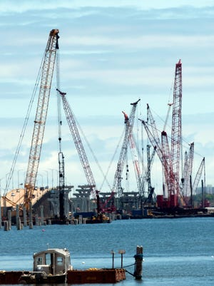 Construction continues Monday on the replacement for the Pensacola Bay Bridge.