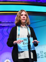 Erin Howard from Alabama spelled the word dimissory correctly during the 2018 Scripps National Spelling Bee at the Gaylord National Resort and Convention Center.
