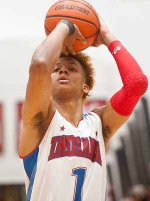 Indiana Senior All-Star Romeo Langford of New Albany H.S. (headed to Indiana) puts up a shot during the Indiana Senior-Junior All-Star Game played at New Albany H.S.June 06, 2018