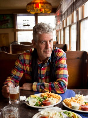 """Anthony Bourdain at Kubel's in Barnegat Light while filming the New Jersey episode of CNN's """"Parts Unknown."""""""