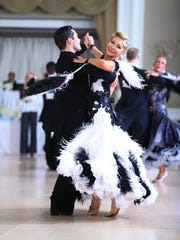 Sandi Moran in ballroom dance competition
