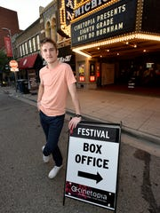 """Writer/director, Bo Burnham, outside the Michigan Theater in Ann Arbor, Thursday night, May 31, where his film """"Eighth Grade"""" was screening as part of the Cinetopia Film Festival, which is taking place until June 10th in Ann Arbor and Detroit."""