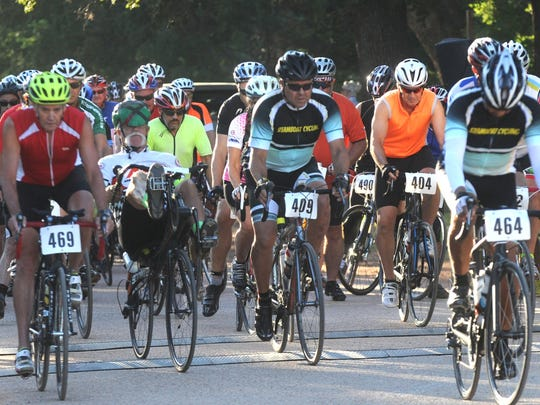 Riders set off on the 34th  Tour de Gap at the Old Settlers Reunion Grounds in Buffalo Gap on July 23, 2016. This year's event also benefits Big Brothers Big Sisters.