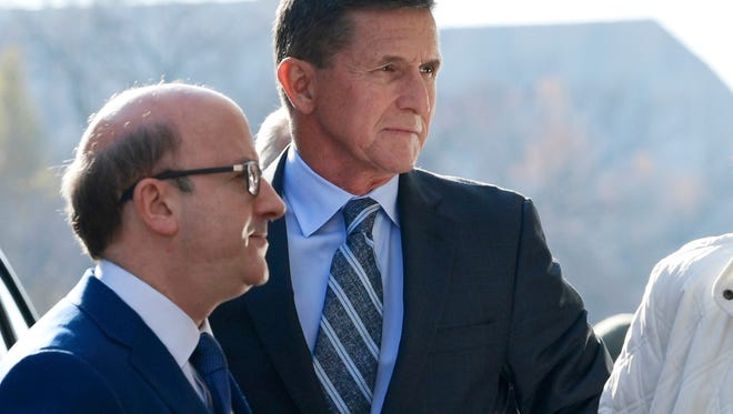 Former Trump national security adviser Michael Flynn arrives at federal court in Washington, Friday, Dec. 1, 2017.