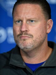 Head coach Ben McAdoo talks to the press after Giants practice at the Quest Training Center on Monday, Augusts 7, 2017.