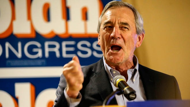 Democrat U.S. Rep. Rick Nolan addressed supporters at his elections headquarters at the Arrowwood Lodge Tuesday.