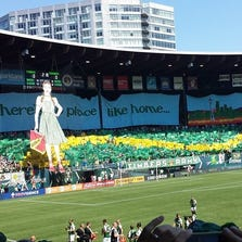 The Timbers Army tifo for the Sunday, Aug. 24 match against rival Seattle