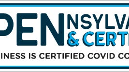 """The """"Open and Certified Pennsylvania"""" logo indicates that a PA restaurant is a COVID-19 compliant business. On Monday, Sept. 21, the DCED announced that PA restaurants were able to engage in the self-certification process that will allow their eateries to increase capacity limits to 50%, provided they follow prescribed mitigation efforts. Once they are self-certified, those restaurants can receive free promotional materials like window decals featuring the """"Open and Certified Pennsylvania"""" logo, and the restaurant will appear in a searchable online database of restaurants participating in the program."""