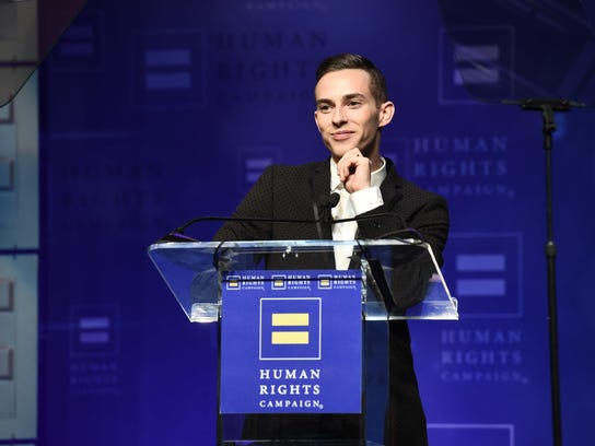 Olympian and HRC Visibility Award recipient Adam Rippon seen at the 2018 Human Rights Campaign Los Angeles Dinner at JW Marriott L.A. Live on Saturday, March 10, 2018, in Los Angeles.