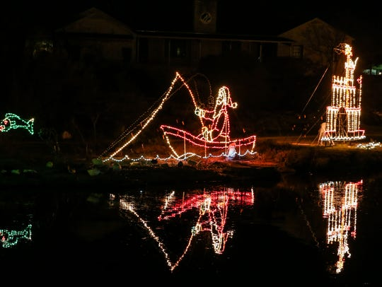 Light displays along the Concho River for the Tour