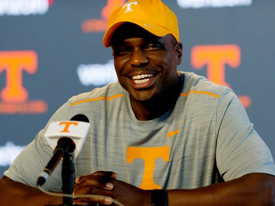 Tennessee sprinting coach Tim Hall speaks during a