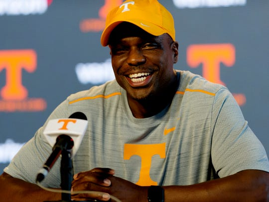 Tennessee sprinting coach Tim Hall speaks during a media press conference at the Ray and Lucy Hand Digital Center in Knoxville, Tennessee on Tuesday, August 22, 2017.