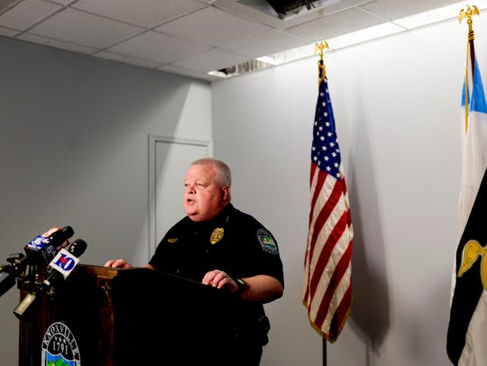 KPD Deputy Chief Gary Holliday speaks during a press conference on February 21, 2018.