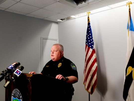 KPD Deputy Chief Gary Holliday speaks during a press conference after a meeting with KPD, KCSO and Knox County Schools regarding the communications breakdown of a threat alert system in Knoxville, Tennessee on Wednesday, February 21, 2018. Officials spoke about how to improving communication and the investigation of threats.