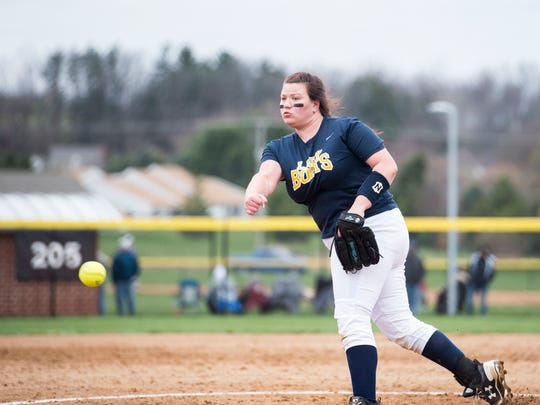 Littlestown's Chelsey Walls pitches during a game against Spring Grove on Friday. The Rockets shut out the Lady Bolts 10-0.