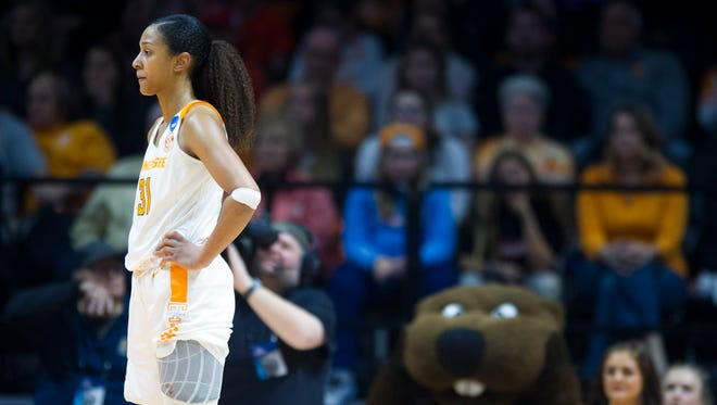 Tennessee's Jaime Nared in the final seconds of Tennessee's loss to Oregon State in the second round of the NCAA tournament on Sunday.
