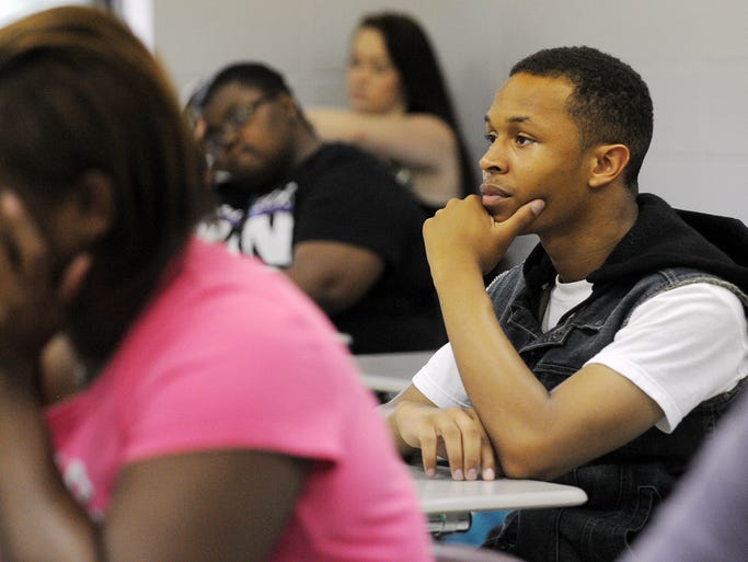 Pear River Community College students sit in an orientation class Monday during the college's first day of classes at the Forrest County campus.