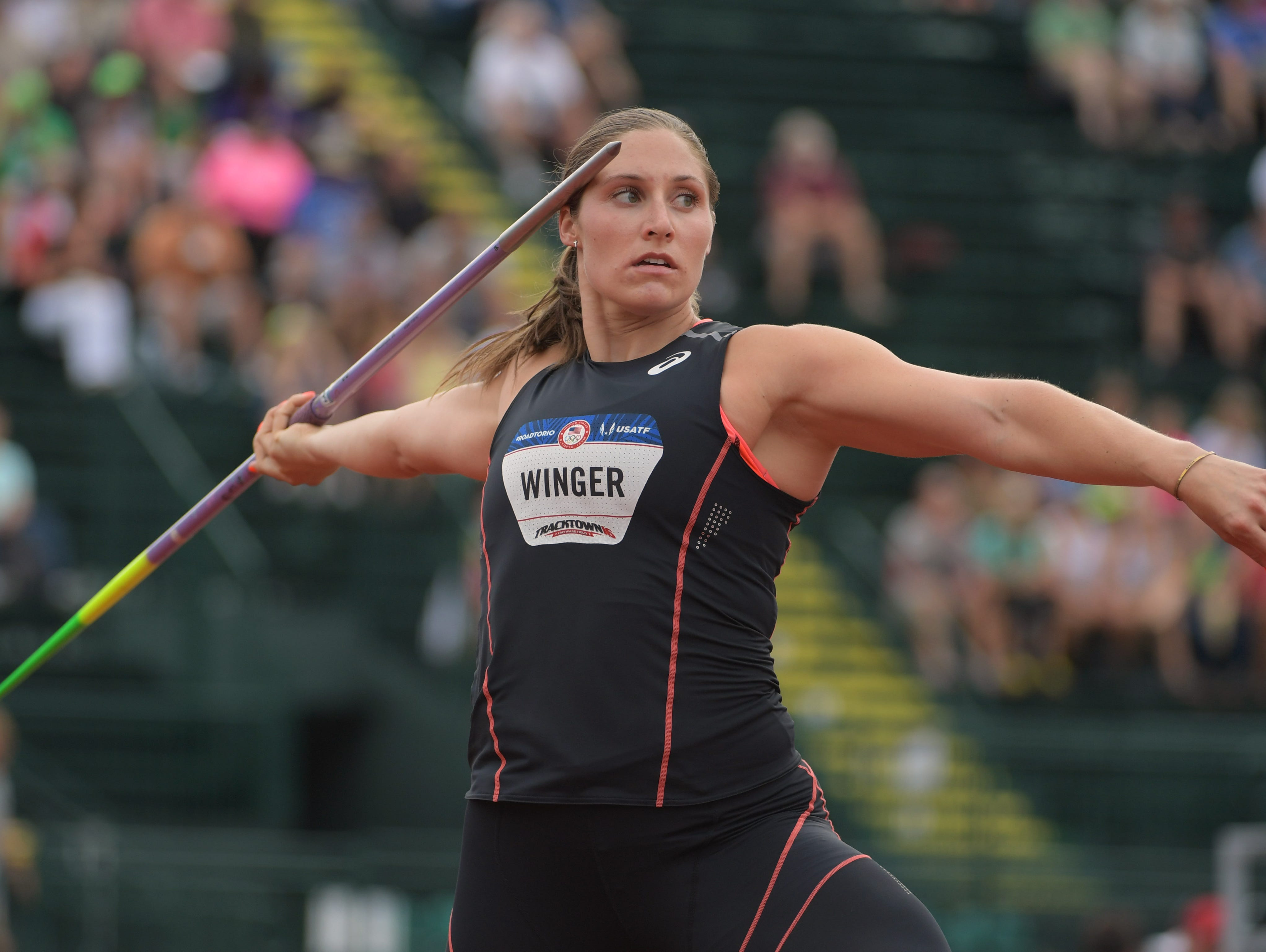 Kara Winger competes Thursday during the women's javelin throw qualifying heats in the 2016 U.S. Olympic track and field team trials at Hayward Field.