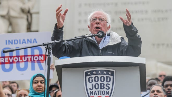 U.S. Sen. Bernie Sanders speaks during a Good Jobs Nation rally on Monument Circle in Indianapolis on Monday, August 21, 2017.