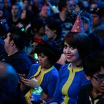 'Vault-tech' cosplay fans attend the Bethesda E3 2015 press conference at the Dolby Theatre on June 14, 2015 in Los Angeles, Calif.