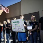 The Roseburg High School band performs on Oct. 3, 2015, to collect donations for families of the victims of the Umpqua Community College shooting in Roseburg, Ore.