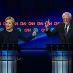 Hillary Clinton and Bernie Sanders in Flint, Mich., in March 2016.