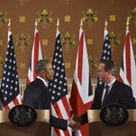 President Obama and British Prime Minister David Cameron during a press conference at the Foreign and Commonwealth Office on April 22, 2016 in London, England.  The President and his wife are currently on a brief visit to the UK where they attended lunch with HM Queen Elizabeth II at Windsor Castle and later will have dinner with Prince William and his wife Catherine, Duchess of Cambridge at Kensington Palace. Mr Obama visited 10 Downing Street on this Friday afternoon and held a joint press conference with British Prime Minister David Cameron where he stated his case for the UK to remain inside the European Union.  (Photo by Ben Stanstall - WPA Pool/Getty Images) *** BESTPIX *** ORG XMIT: 631152447 ORIG FILE ID: 523224038