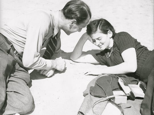 Annemarie and George Roeper on the beach in Atlantic City, 1939, just after Annemarie arrived in America.