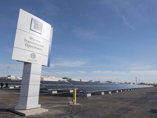 solar array at the GM Warren Transmission Plant