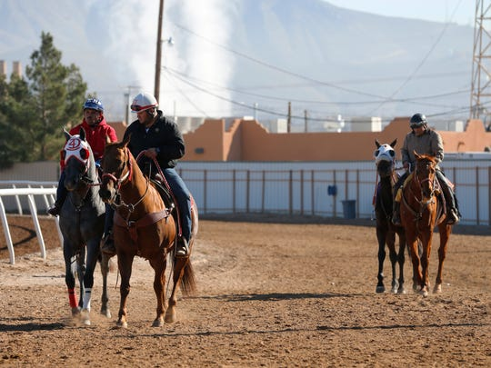 A couple of riders train on Wednesday morning in preparation for the opening day of racing at Sunland Park Racetrack & Casino on Friday afternoon. for its 59th season of live racing.
