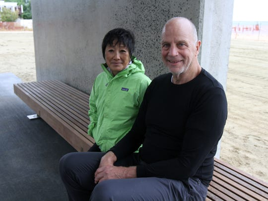 """People start to gather for the """"soft"""" dedication of the new concrete pavilion, designed by (pictured) NYC achitects Billie Tsien and Tod Williams, in HIghlands, NJ Thursday October 1, 2015. The pavilion, which was 100 percent donated by members of the Tilt-Up Concrete Association, is dedicated to the Bayshore area residents who dealt with Sandy and the superstorm's aftermath."""