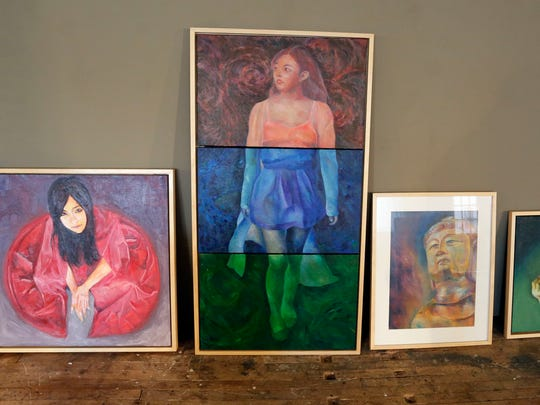 Art waiting to be hung Wednesday, Sept. 23, for the upcoming Sheboygan Visual Artists show in Sheboygan.