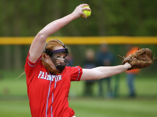 Fairport starting pitcher Sydney Bolan delivers a pitch